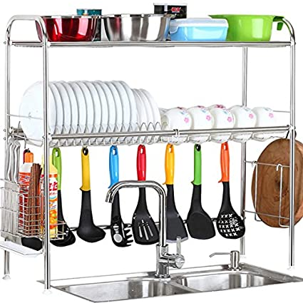 Exceptionnel 2 Tier SUS304 Stainless Steel Adjustable Dish Drying Rack Utensil  Holder,Over The Sink