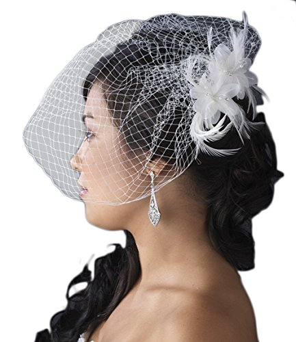 Valeriya Feather Fascinator with Birdcage Veil - White