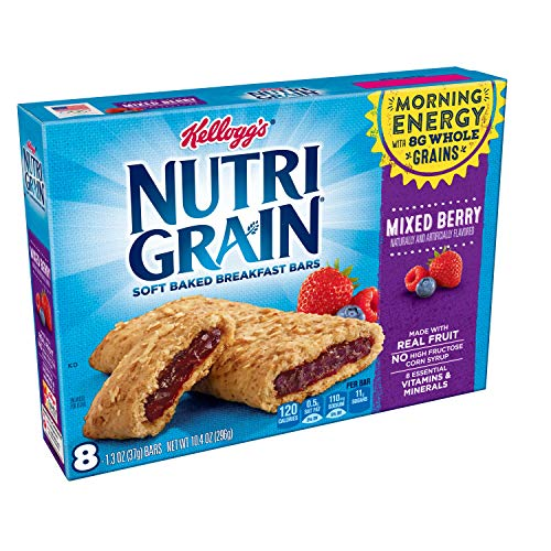 Whole Baked Grain (Kellogg's Nutri-Grain, Soft Baked Breakfast Bars, Mixed Berry, Made with Whole Grain, 10.4 oz (6 packages of 8 bars))