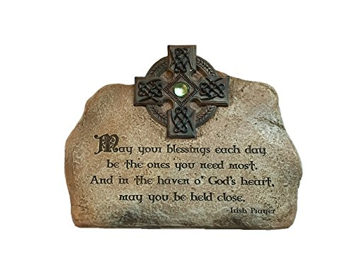Abbey Press Irish Blessing Plaque Resin Home Décor Cobblestone Celtic Cross 7 3/8 Inches by 5 1/2 Inches by 1 1/8 Inches