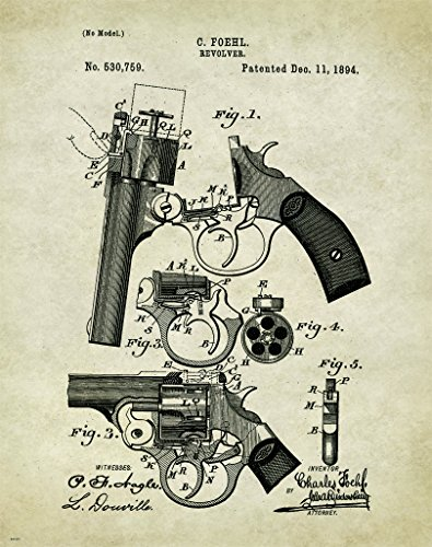 Revolver Pistol Patent Poster Art Print Reproduction Hunting Sporting Clays Thrower 11x14 Wall Decor Pictures