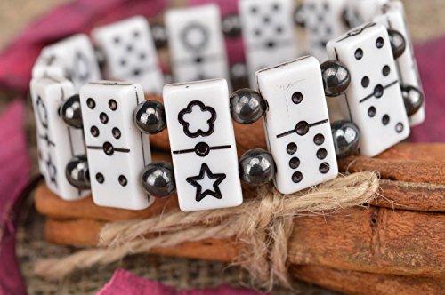 Handmade Stylish Bracelet Made Of Beads Black And White In Shape Of Dominoes (Beaded Domino)