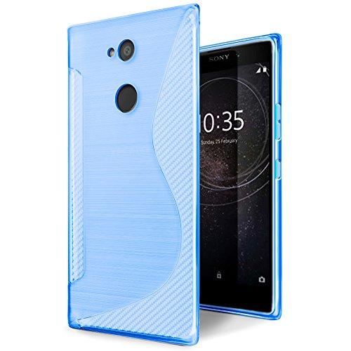 SLEO Funda para Sony Xperia L2 Slim Fit TPU Carcasa de Parachoques Case Traslúcido Suave con Absorción de Impactos y Resistente a los Arañazos para Sony Xperia L2 - Púrpura Azul