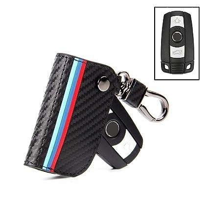 Fit BMW Smart Key Case for BMW Keyless FOB  Holder Carbon Fiber Leather Key Bag