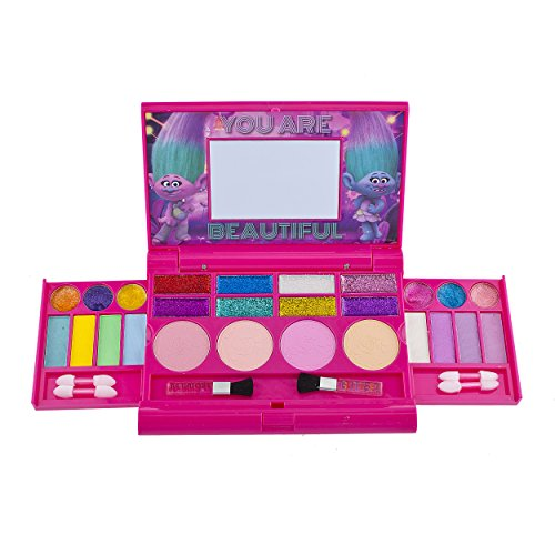 Townley Girl Super Sparkly Lip Compact Cosmetic Set for Girls, 22 Lip glosses, 4 blushes in Mirrored Case (Trolls)]()