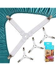 Felly 4 stuks 3-weg lakenspanner verstelbare beddenlakenspanner elastische hoeslakenhouder met metalen klemmen voor lakens