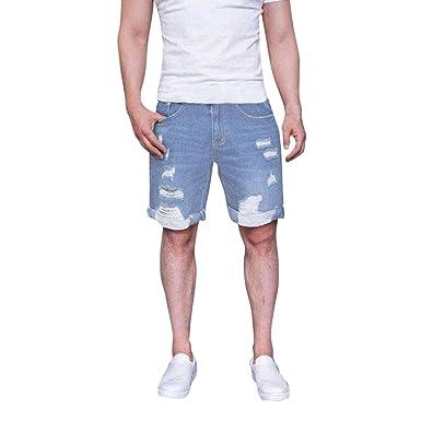 bb09aa5da Mens Fashion Zipper Frayed Pants Ripped Distressed Denim Shorts Casual Jeans  Short Pants