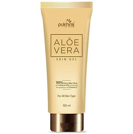 Pukhraj 90% Pure Aloe Vera Piel Gel con Vitamina E Aceite – eficaz contra las