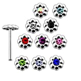 20 Pieces Mix Color Jeweled Emboss Flowers 925 Sterling Silver Nose Pin Straight End 20Gx5/16 (0.8x8MM). Pack in Acrylic Box.