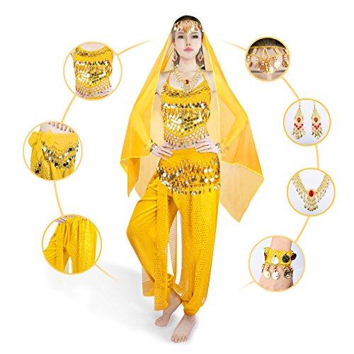 Soie En Bracelet Symbollife Grand Jaune Avec Visage Haut Pantalon Banadge Danse Echarpe Foulard Mousseline Ceinture Court Indienne Pad Femmes Collier Chest Aist Tete De qAHHIw