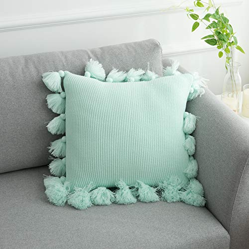 (famibay Knitted Pilllow Covers, Decorative Cotton Knitted Pillow Case Cushion Cover Double-Cable Knitting Patterns Soft Warm Throw Pillow Covers 18