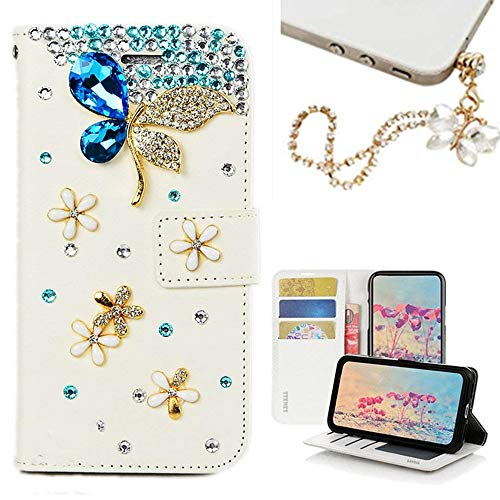 - Spritech Galaxy J3 2018 Case,Galaxy J3 Achieve/J3 Star/Express/Amp Prime 3/J3 V 3rd Gen Case, [Card Slot] Design Floral Bling Crystal Diamonds Butterfly with Dust Plug Folio Stand PU Leather Wallet