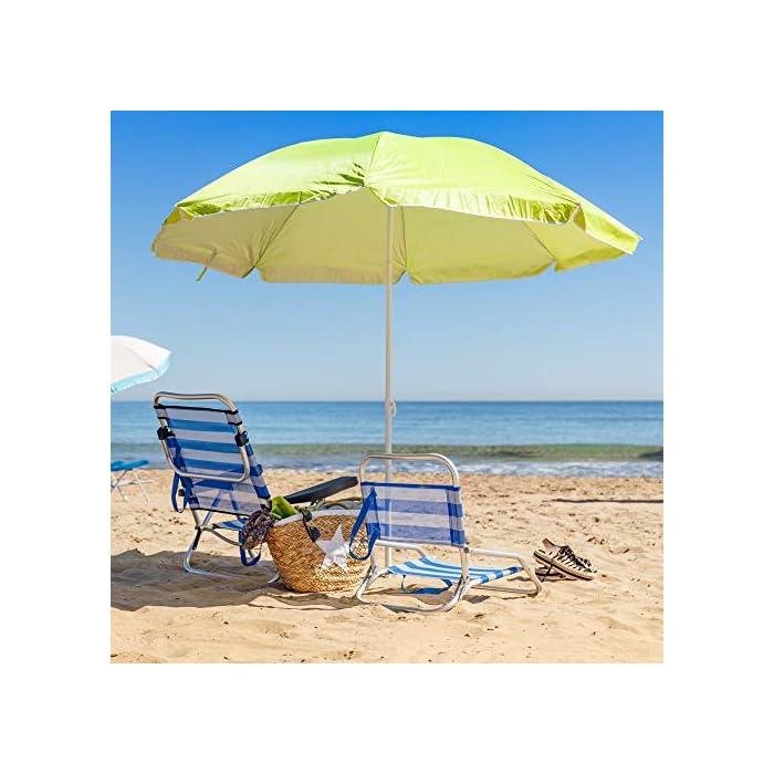 51lOQ22eWqL Esta sombrilla está hecha de protección UV y poliéster antidecoloración que es perfecta para bloquear los dañinos rayos UV del sol. Es inclinable, regulable en altura y plegable. Una propuesta novedosa, práctica y funcional para disfrutar de laplayay el sol, que te garantiza una buena sombra.