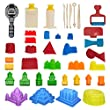 CoolSand Advanced Building Sand Molds and Tools Kit - Works with all other Play Sand Brands - 37 Pieces Includes: Castle, Bricks and walls Molds, and Tools - Sand Not Included