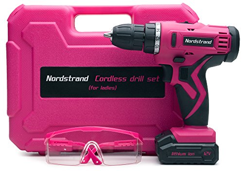 Nordstrand Pink Cordless Drill Set – Electric Screwdriver Power Driver Kit for Women – 12V Rechargeable Li-Ion Battery…