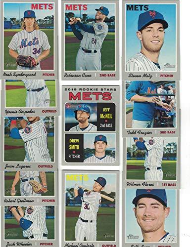 New York Mets/Complete 2019 Topps Heritage Baseball Team Set! (12 Cards) Includes 25 Bonus Mets Cards!