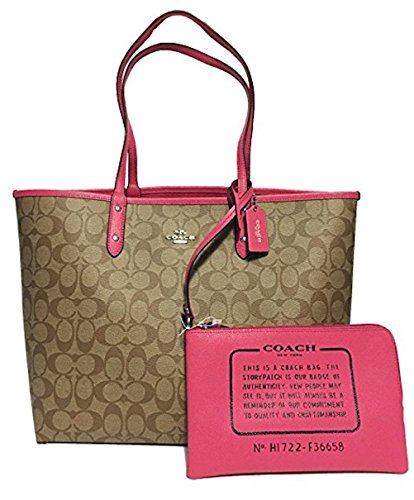 Coach F36609 Reversible PVC City Signature Tote (SV/Khaki/Magenta) by Coach
