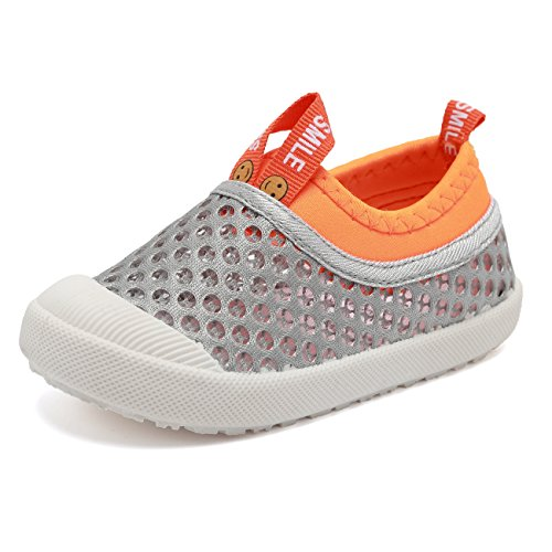 HOME DREAM Boys&Girls Slip-on Casual Sneakers Breathable Water Shoes For Running Pool Beach (Toddler / Little Kid),B03-Grey-24
