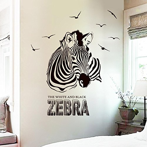 Cheap  Iuhan Huge Zabra Vinyl Wall Sticker Zebra Wall Decals Animal Print Home..