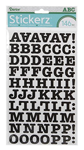 Darice 1219-48 151-Piece Glitter Alphabet Sticker, Upper Case and Numbers with Fun Font, Black