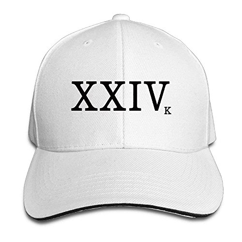 3e1d30c3a9b HENBEERS Twill Sandwich Snapback Peaked Bill Cap Bruno New Song XXIV Logo  24K Magic Hat
