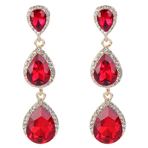 EleQueen Women's Gold-tone Austrian Crystal Teardrop Pear Shape 2.5 Inch Long Earrings Ruby Color ()