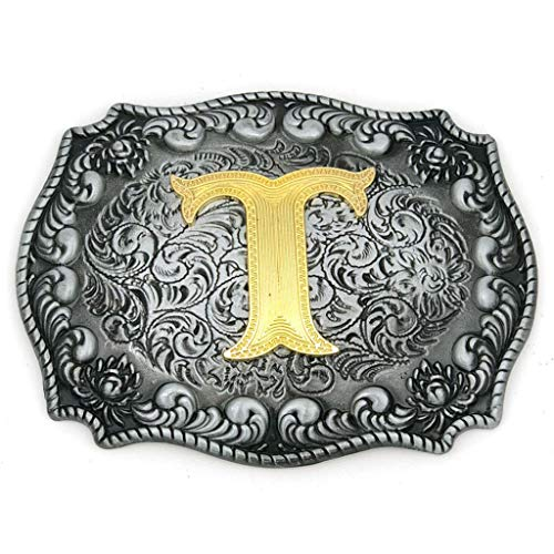 (Upgrade Western Belt Buckle Initial Letter ABCDEFG to Y- Cowboy Rodeo Large Gold Silver Metal Buckles for Men Women (Initial Letter T))