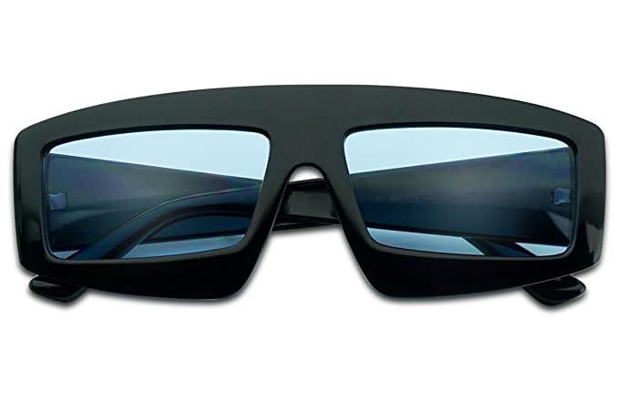 c3391b0833 SunglassUP Extra Bold Rectangular Colored Lens Block Shield Frame Sunglasses  (Black Frame