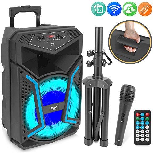 Pyle System-800W Outdoor Bluetooth Speaker Portable PA System w/Microphone in, Party Lights,MP3/USB SD Card Reader, FM Radio, Rolling Wheels-Mic, Remote (PPHP122SM)