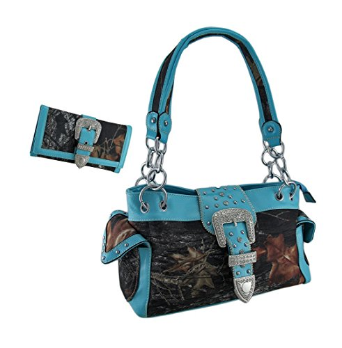 Camouflage Rhinestone Western Buckle Purse/Wallet Set Turquoise Trim