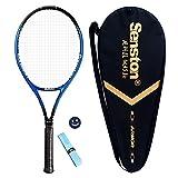 Senston 27' Tennis Racket Professional Tennis Racquet Good Control Grip Strung with Cover Tennis Overgrip Vibration Damper(Blue)