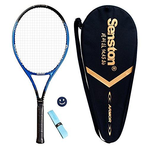 Senston 27 Tennis Racket Professional Tennis Racquet Good Control Grip Strung with Cover Tennis Overgrip Vibration Damper(Blue)