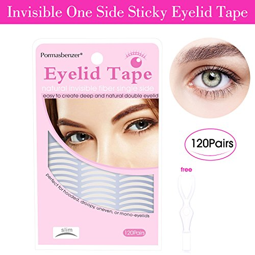 Natural Invisible One Side Eyelid Tape Stickers - Instant Eye Lift Without Surgery - Perfect for Hooded, Droopy, Uneven, or Mono-eyelids (240Pcs/120 Pair, Slim) (Surgery Lift Eyelid)