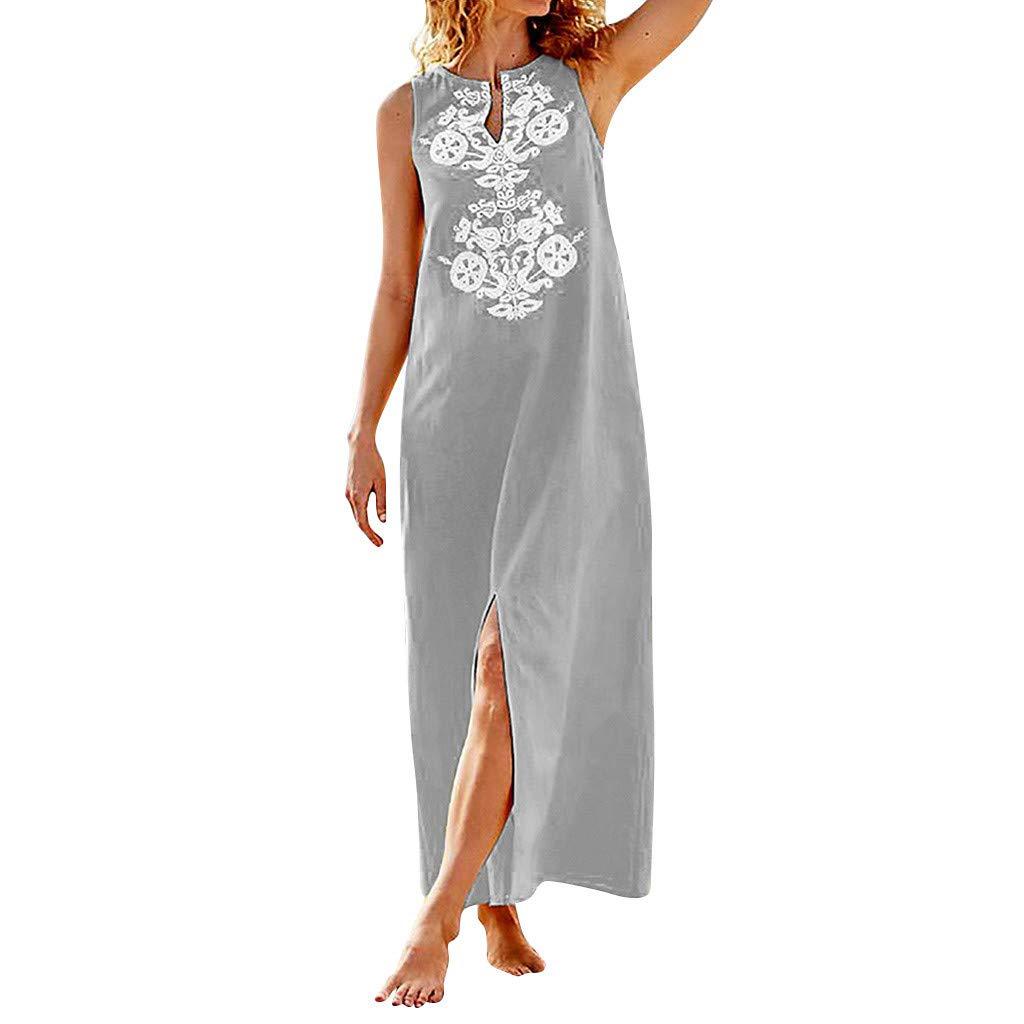 GreatestPAK_Dresses Women's Large Size V-Neck Print Sleeveless Long Section,GreatestPAK 2019 Summer New Bohemian Holiday Dress
