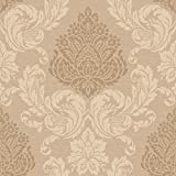 Décor Direct YWCT0890 Sebastian Double Roll of Decorative Vinyl Hanging Wallpaper, Light Brown/Dark Cream/Shiny Copper