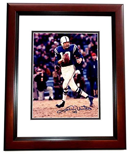 Johnny Unitas Autographed Photograph - 8x10 inch MAHOGANY CUSTOM FRAME Deceased 2002 Guaranteed to pass or JSA - PSA/DNA - Autograph Johnny Unitas