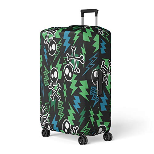 Semtomn Luggage Cover Blue Pattern Skull and Lightning Bolt Green Skate Edgy Travel Suitcase Cover Protector Baggage Case Fits 18-22 Inch