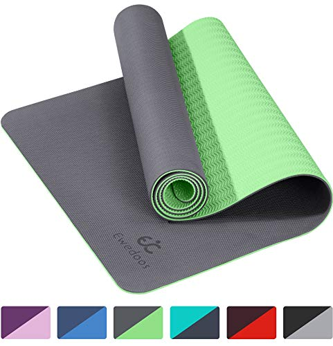 Ewedoos Eco Friendly Yoga Mat TPE Non Slip Yoga Mat with Upgraded Textured Surface for Extra Grip, Non Slip Workout Mat for All Type of Yoga, Pilates and Fitness, Carrying Strap Included (Gray)