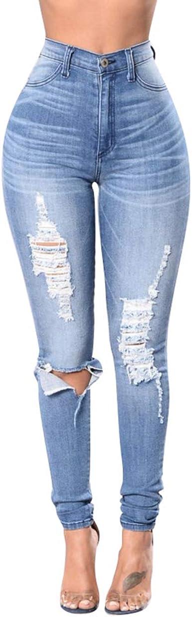 Zengbang Mujer Casual Stretch Cintura Alta Pantalones De Mezclilla Moda Ajustado Jeans Vaqueros Rasgados Amazon Es Ropa Y Accesorios