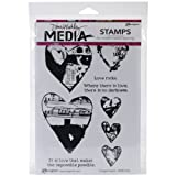 Dina Wakley Media Rubber Collaged Hearts Cling Stamps, Multi-Colour by Ranger
