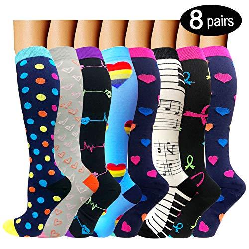 8 Pairs Compression Socks Women & Men -Best...