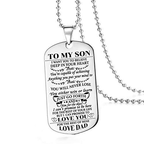 To My Son I Want You To Believe Love Dad Dog Tag Military Air Force Navy Necklace Ball Chain Gift for Best Son Birthday Graduation Stainless Steel (To My Son)