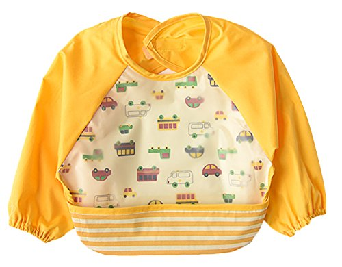 La Vogue Toddler Baby Cute Cartoon Waterproof Sleeved Bib Apron Yellow - Pradas Toddler