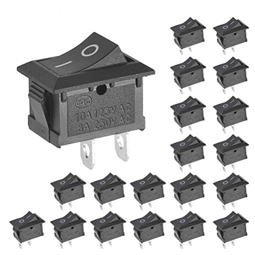 BUYGOO Pack of 20 Mini Boat Rocker Switch - AC 6A/250V 10A/125V 2 Solder Lug SPST On/Off - Car Auto Boat Round Rocker 2Pin Toggle SPST Switch Snap