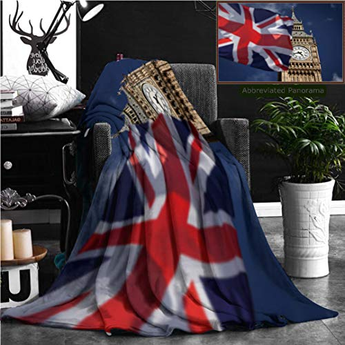 (Nalagoo Unique Custom Flannel Blankets British Union Jack Flag And Big Ben Clock Tower At City Of Westminster In The Background Uk Vote Super Soft Blanketry for Bed Couch, Twin Size 80
