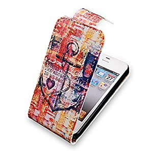 CECT STOCK Anchor Up-Down Turn Over PU Leather Case Bady completa para el iPhone 4/4S
