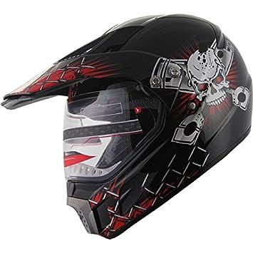 bcf7ebb1 Motocross Dual Sport Off Road Dirt Bike ATV Motorcycle Helmet Skull 406_810  Red/Black w/ Visor (XL), Helmets - Amazon Canada