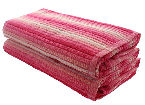 Everyday Resort Quality Cabana Ombre Pink Beach Towels - Pack of 2 Cabana Stripe Pool Towels 100% Cotton - Large 60