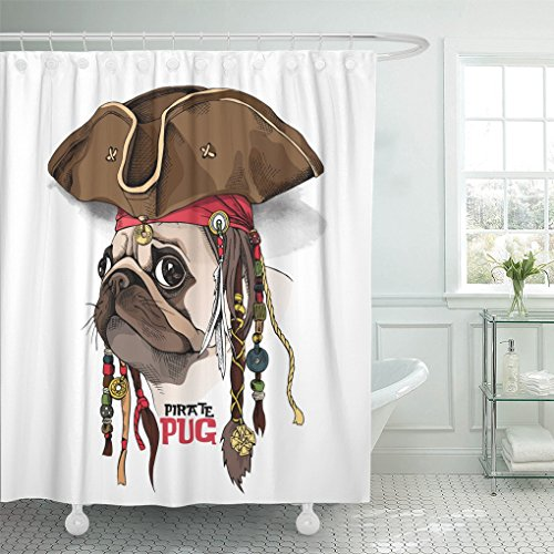 Emvency Shower Curtain Polyester Print 72x78 Inches Brown Dog Portrait of Pug in Pirate Hat Bandana Dreadlocks Fun Party Head Funny Waterproof Adjustable Hook (Bandana Pirate Suede)