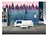 wall26 - Fir Forest in Early Morning - Removable Wall Mural   Self-Adhesive Large Wallpaper - 100x144 inches